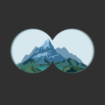 Vista de binóculos na paisagem de montanhas.