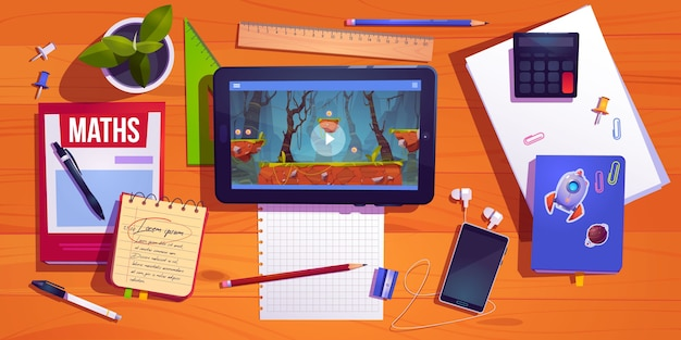 Vista de cima da mesa do aluno, mesa do trabalho em casa do adolescente com tablet de papel de carta estudando e jogo de computador