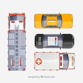 Vista de cima de caminhão de bombeiros, táxi, carro de polícia e ambulância