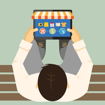Vista de cima de um homem em um banco fazendo compras on-line em um computador tablet com a frente de uma loja e mercadoria com um carrinho de compras, pagamento e ilustração vetorial de opções de entrega