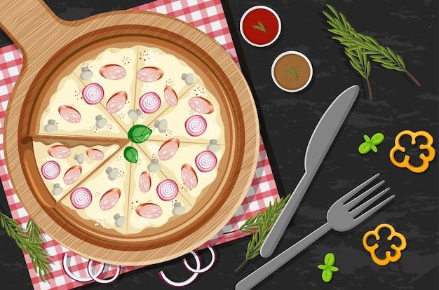Vista de cima de uma pizza inteira com cobertura de cebola e cogumelos no fundo da mesa