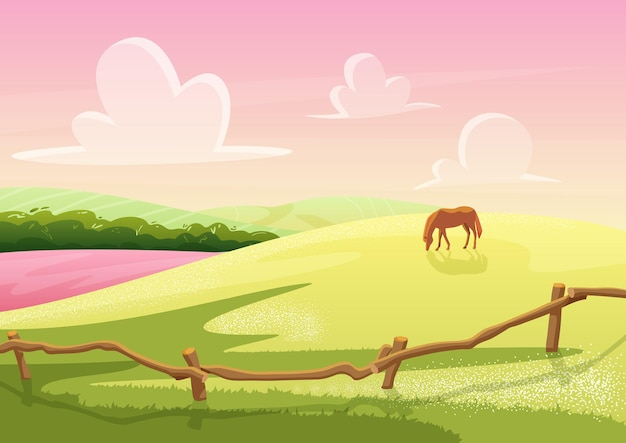 Vista de colinas de clareira rural de verão com cavalo pastando na paisagem de jogo de campo
