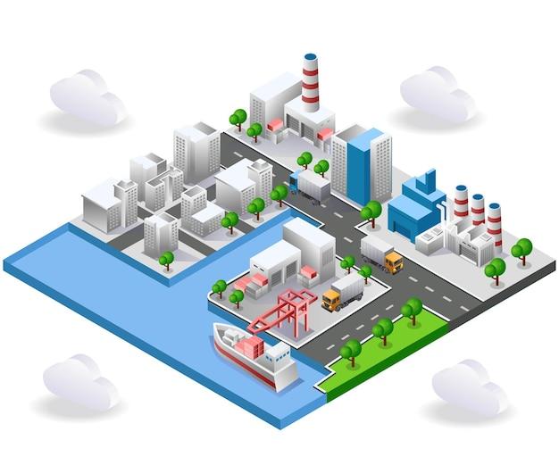 Vista de fábricas e edifícios na rua da cidade
