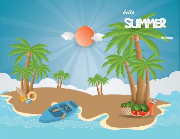 Vista, de, férias verão, com, suco fruta