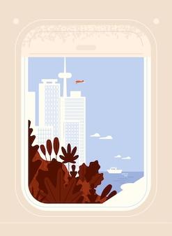 Vista de janela de aeronave ou avião no centro da cidade à beira-mar com arranha-céus e edifícios modernos