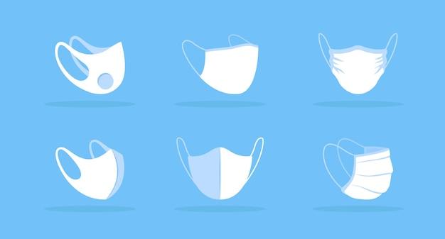 Vista de máscara facial de maquete branca de diferentes ângulos. cobrindo o rosto com válvula. proteção contra doenças transmitidas pelo ar. filtração bacteriana. clipart de itens modernos. modelo de design isolado em fundo azul