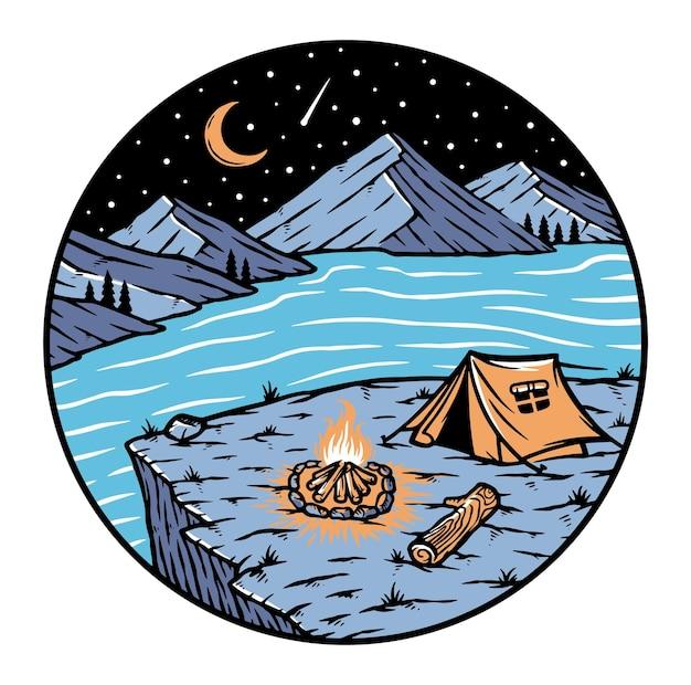Vista de montanhas e lagos à noite