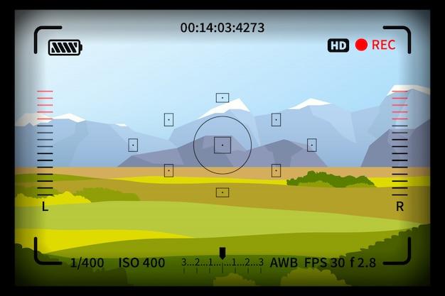 Vista de paisagem com marcas de visor de câmera de foto de reflexo