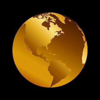 Vista de pano de fundo do planeta américa ouro 3d metal. ilustração em vetor mapa mundo eua e brasil em fundo preto.