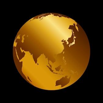 Vista de pano de fundo do planeta de metal 3d ásia dourada. rússia, índia e china mapa ilustração vetorial sobre fundo preto.