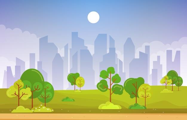 Vista de primavera verão na cidade parque paisagem plana ilustração ao ar livre