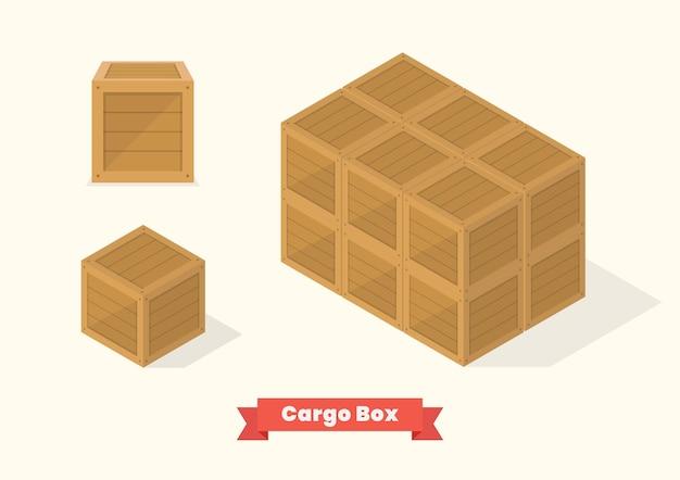 Vista de projeção isométrica da caixa de madeira da carga. ilustração vetorial