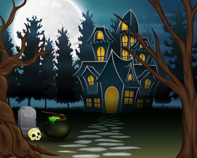 Vista de uma casa assombrada com o fundo de uma lua cheia