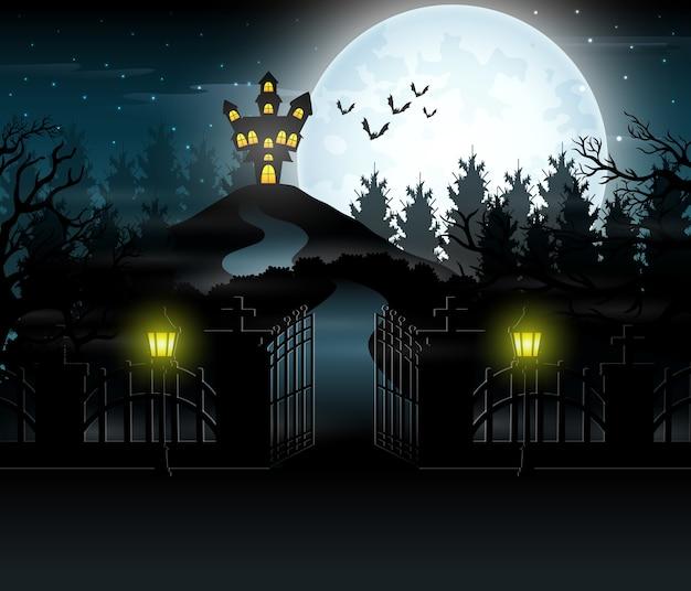 Vista de uma casa assombrada com um fundo de lua cheia