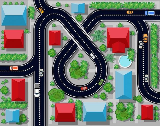 Vista de uma junção de rodovia