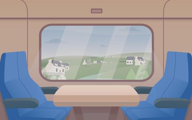 Vista deslumbrante da janela do trem e par de assentos