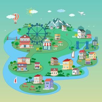 Vista detalhada da cidade com prédios de ruas, parques, pontes, lugares públicos.