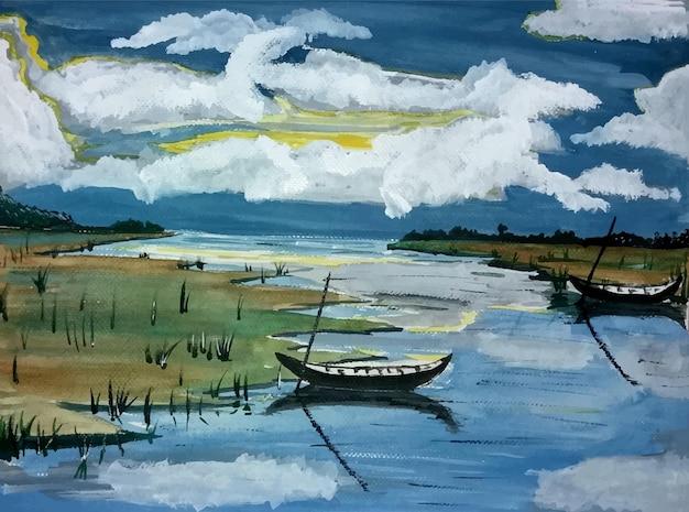 Vista do céu em aquarela de barco na ilustração do rio