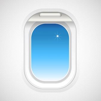 Vista do céu fora da janela do avião