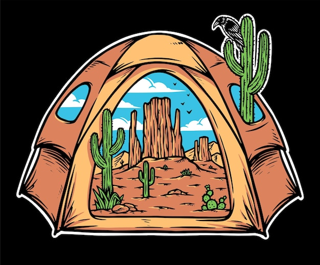 Vista do deserto dentro da barraca