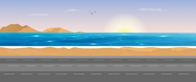 Vista do mar. cena da estrada para o mar.