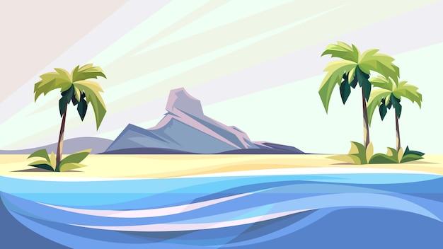 Vista do mar com palmeiras e pedras. belas paisagens naturais.