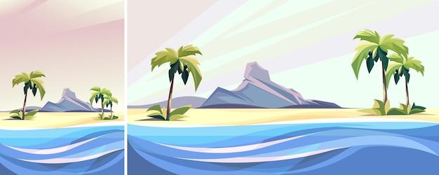 Vista do mar com palmeiras e pedras. paisagem da natureza na orientação vertical e horizontal.