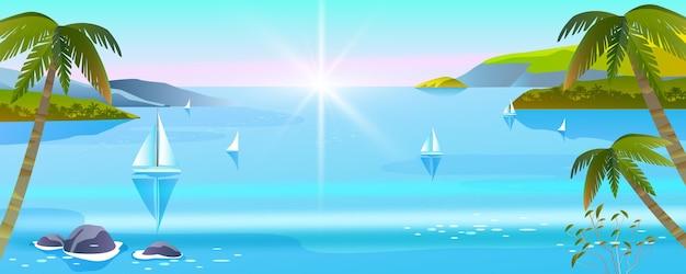 Vista do mar, verão de ilha tropical, oceano, ilha, palmeiras, barcos