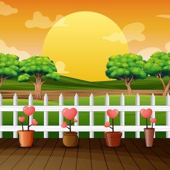 Vista do pôr do sol com amor de flores na ilustração do parque