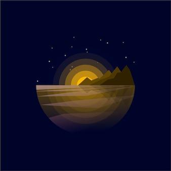 Vista do pôr do sol do logotipo da montanha