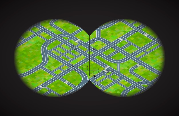 Vista dos binóculos em cruzamentos difíceis em isométrica