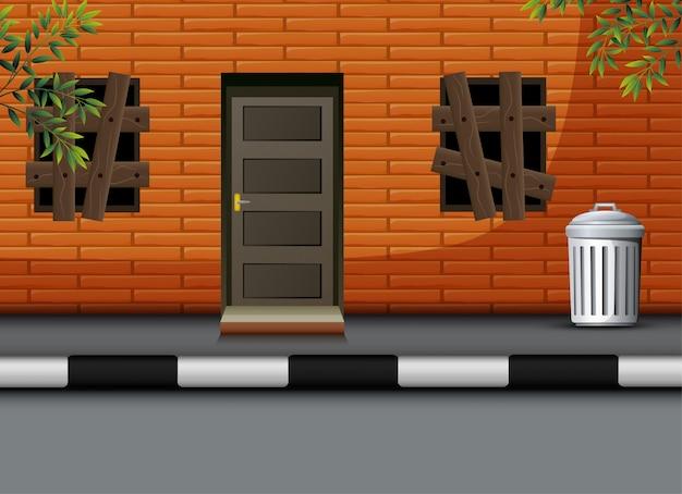 Vista dos desenhos animados da casa desabitada
