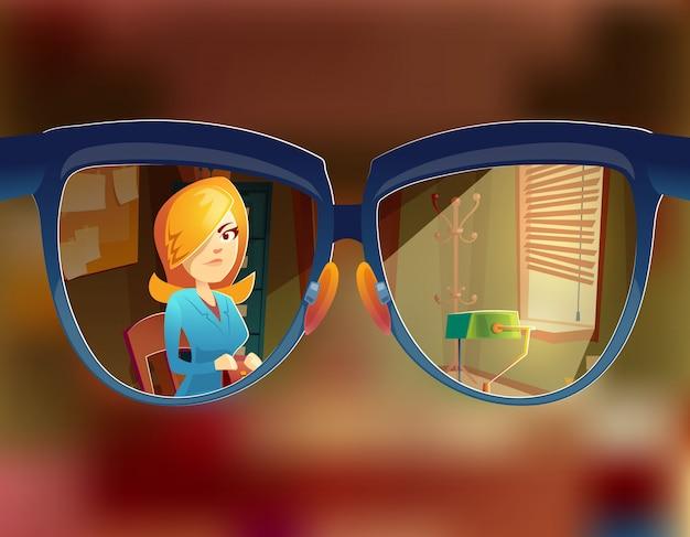 Vista dos vidros no cliente da mulher. miopia, conceito de miopia