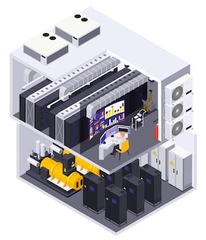 Vista em corte isométrico da instalação de 2 andares do data center com equipamentos de informática servidores roteadores mesa do operador