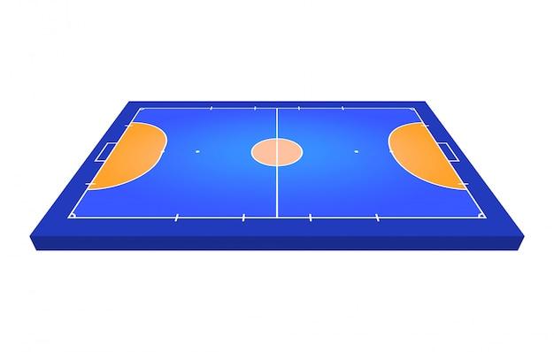 Vista em perspectiva campo para futsal. contorno laranja de ilustração de campo de futsal de linhas.