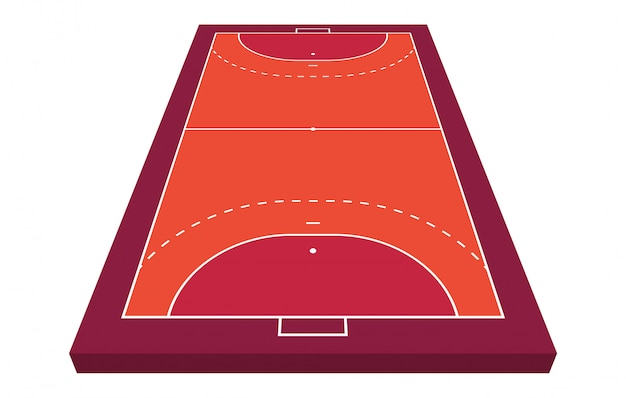 Vista em perspectiva campo para handebol. contorno laranja de ilustração de campo de handebol de linhas.