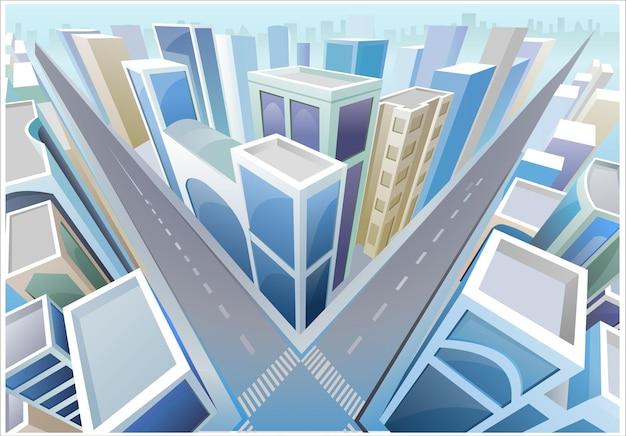 Vista em perspectiva da cidade