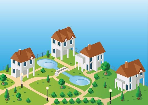 Vista em perspectiva das casas da aldeia no vetor no céu