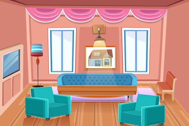 Vista em perspectiva do interior da sala de estar