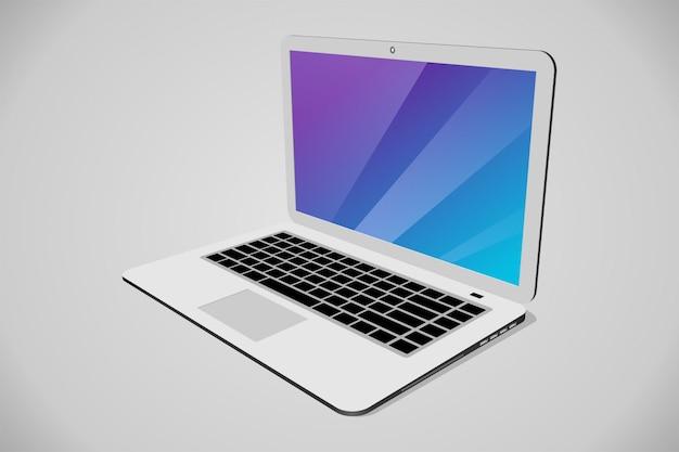 Vista em perspectiva do laptop