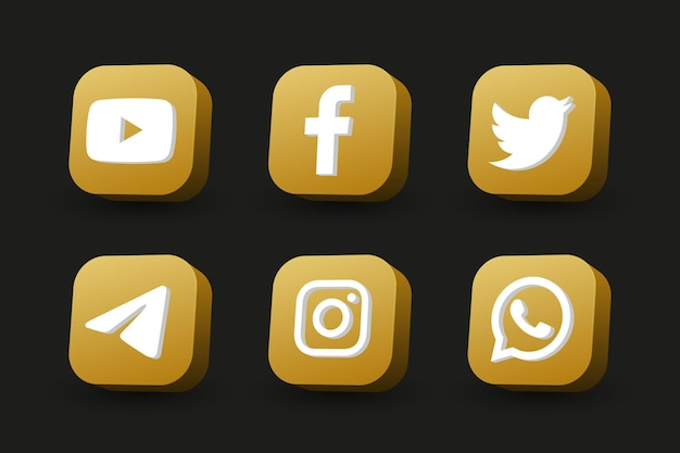 Vista em perspectiva do quadrado dourado isolada coleção de ícones de logotipo de mídia social em preto