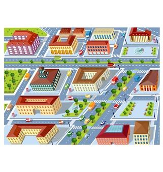Vista em perspectiva dos bairros urbanos