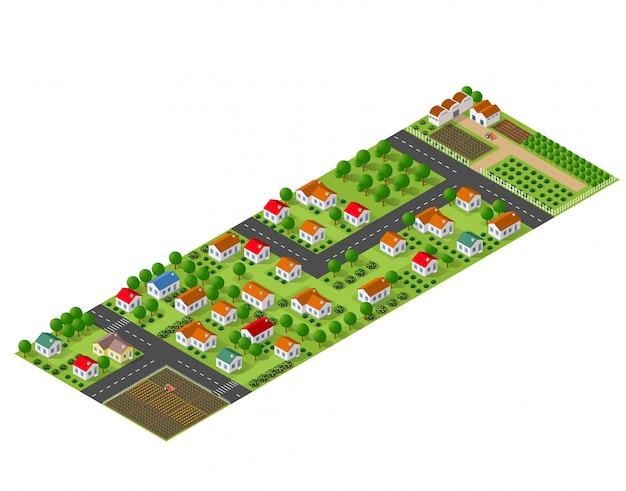 Vista em perspectiva isométrica de uma área rural com casas de aldeia