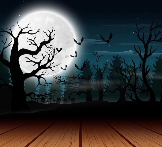 Vista exterior com o fundo de lua cheia no dia das bruxas