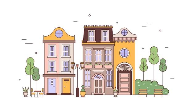 Vista exterior de elegantes edifícios residenciais de arquitetura europeia. paisagem urbana ou paisagem urbana com bairro de casas vivas requintadas. imóveis da cidade. ilustração vetorial no estilo linear.
