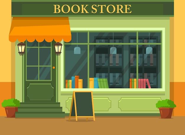 Vista externa em livraria ou prédio com livros