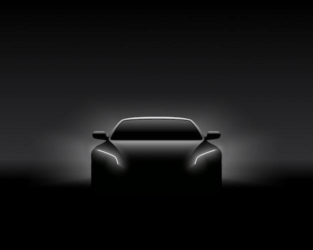 Vista frontal conceito carro escuro silhueta