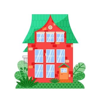 Vista frontal da casa vermelha com janelas de cores vivas e telhado verde. fachada da casa com janelas e varanda