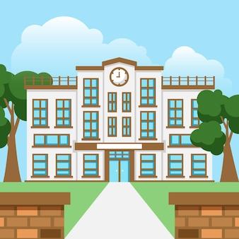 Vista frontal da escola japonesa de design plano