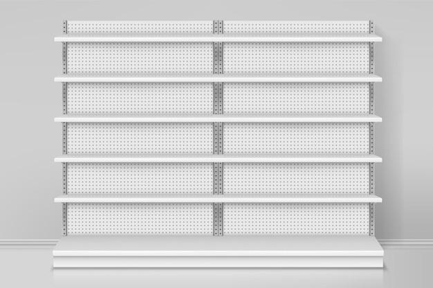 Vista frontal da loja ou projeto do balcão das prateleiras das lojas